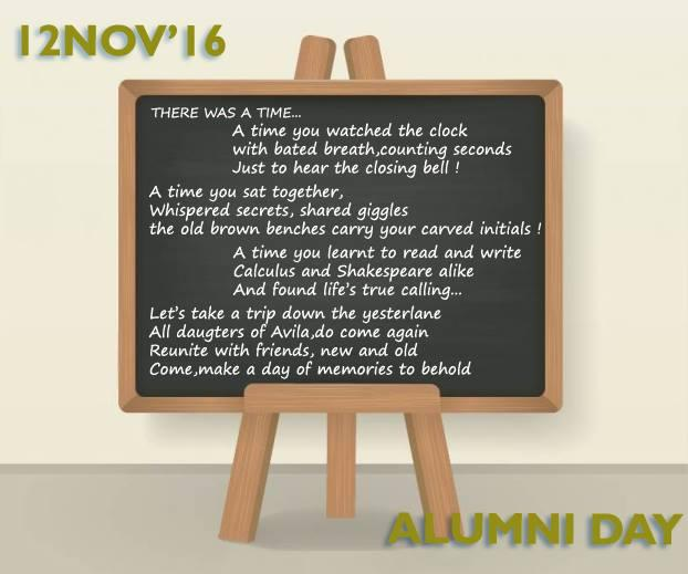 INVITATION  FOR   ALUMNI   DAY -    SATURDAY   , 12.11.2016.