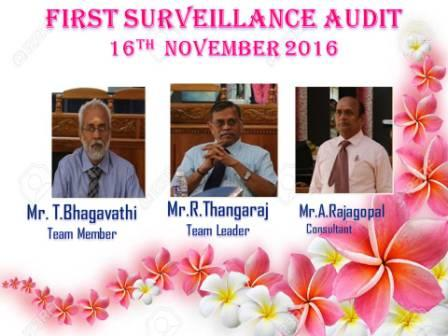 ISO  SURVEILLANCE   AUDIT   2016 - 17.  ( 16.11.2016 )