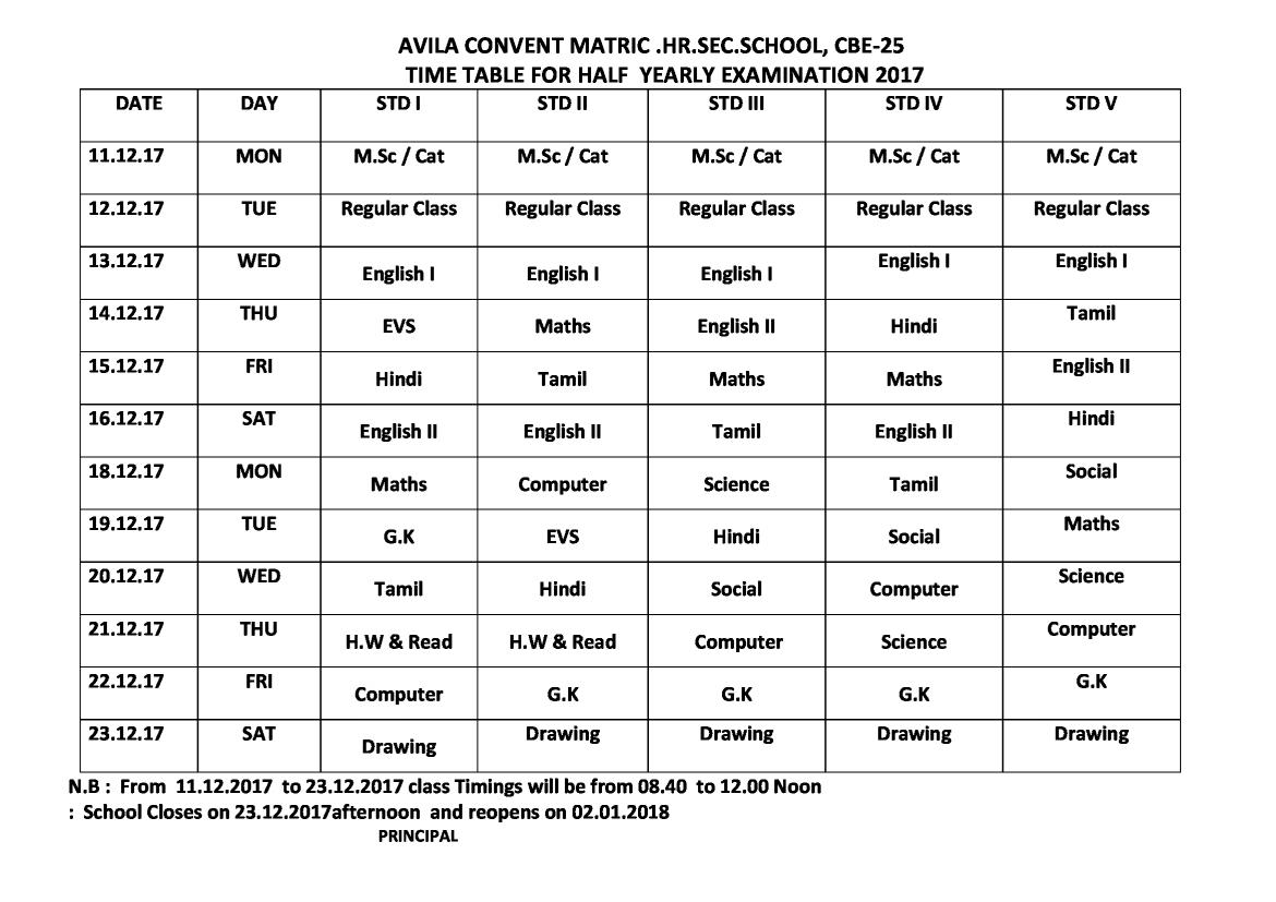 HALF YEARLY  EXAMINATION  :  2017 -   TIME TABLE