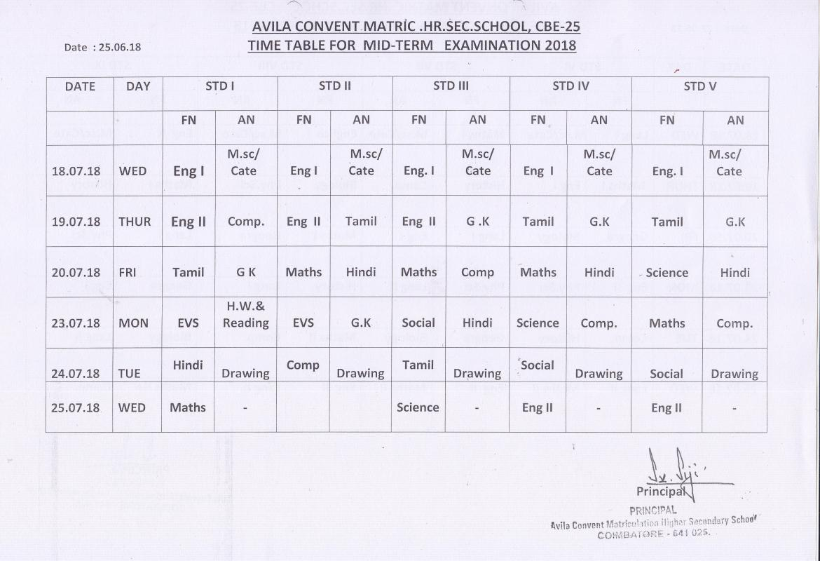 I MID TERM TEST :2018  - TIME TABLE