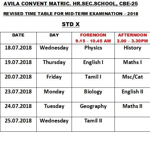 REVISED TIME TABLE FOR  STD  X - I MID TERM TEST. :2018  [13.7.2018 ]