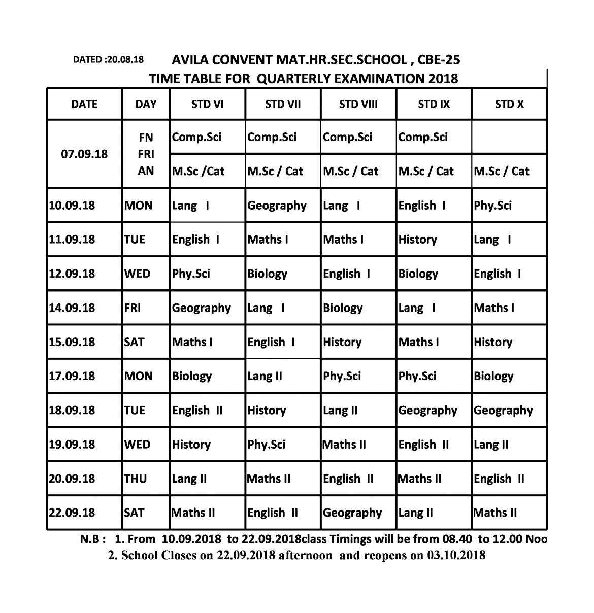 Quarterly Examination Time Table : 2018