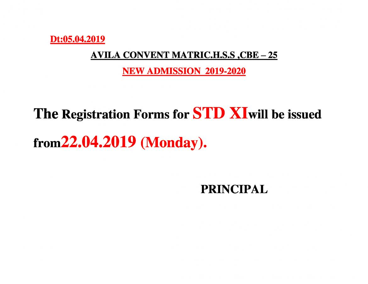 REGISTRATION FORMS FOR STD.XI : 2019-2020